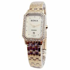 Bonia Rosso Crystal Swarovsky D20H1045BN2222LCSLVP Date Jam Tangan Wanita Stainless Steel Chain