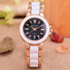 Bonico - Jam Tangan Wanita - Body Rose Gold/White - Black Dial - White