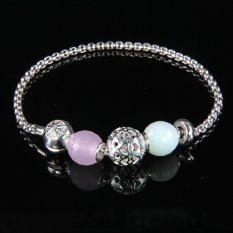 Bracelet Chain With Classic Bead Karma Beads New Fashion Beads Bracelet Jewelry With Pink Crystal Zirconia Bevelled Beads Linkchain Bracelet Jewelry Trendy Bracelet For Women Gifts 925 Sterling Silver Plating Beaded Bracelet - Intl