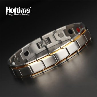 Brand Design Fashion Health Energy Bracelet Bangle&germaniumnegative ion magnetic bracelet Men 316L Stainless Steel BioMagnetic Bracelets Black And Gold Plated Jewelry 10124 - intl