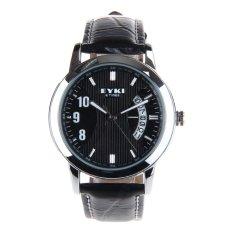 Brand EYKI W8408G Watch Strap Waterproof 10M Leather Stainless Steel Casual Wristwatch Calendar Quartz Watch Free Shipping
