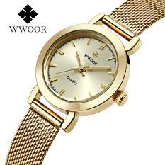 Brand Luxury Women Watches Casual Quartz Watch Ladies Analog Clock Gold Stainless Steel Bracelet Wristwatch (Gold) - Intl