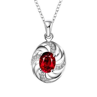 "Bridal Womens Silver Plated Cubic Zirconia And Created Ruby Pendant Necklace 18"" - Intl"