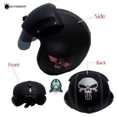 Broco Handmade Helm Pilot Kaca Retro Klasik Harley Davidson and Punisher Full Synthetic Leather - Hitam