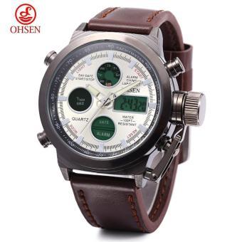 [BROWN] OHSEN AD1601 Dual Movt Quartz Digital Watch Chronograph Date Day Alarm Display 3ATM
