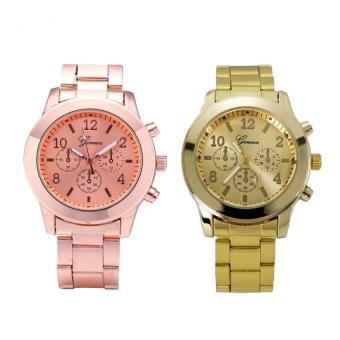 Bundle Watch 632642 632643 Geneva Jam Tangan Wanita Strap Stainless Steel Gold Dan .
