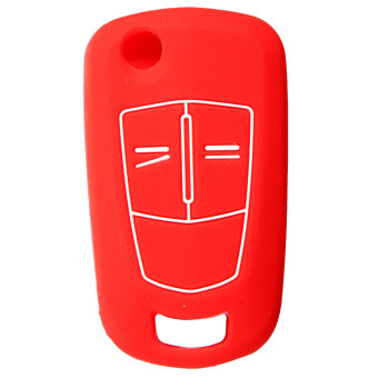 Button Silicone Remote Key Cover Fob For Vauxhall Opel (Red)