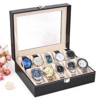 BUYINCOINS kulit 10 Slot jam tangan kotak tampilan jendela kasus pemegang penyimpanan penyelenggara