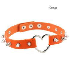 BUYINCOINS New Women Goth Punk Leather Buckle Collar Rivet Heart Ring Choker Chain Necklace Orange - Intl