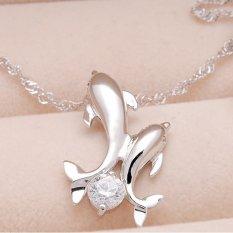 Buytra Elegan Kristal Liontin Kalung Berlian Imitasi Lumba-Lumba Lucu Double Rantai Kalung Putih