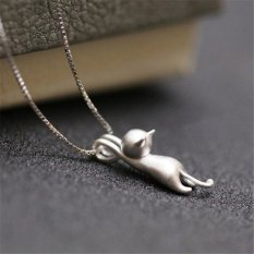 Buytra Vogue Kitty Silver Plated Necklaces Cute Cat Pendant Necklaces Chain Necklace Silver - Intl
