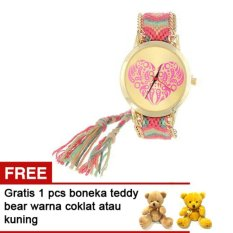 Cannies Buy1get Free Jam tangan Rajut Heart Shape Pattert Free Boneka Teddy bear