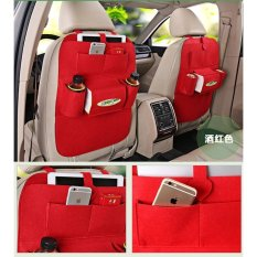 Car Multifunctional Storage Back Bag 2 Pieces / Set For Car (Red) - Intl
