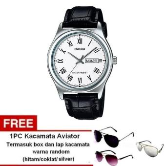 Casio Analog Watch Jam Tangan Pria - Hitam - Genuine Leather Band - MTP-V006L-7BUDF + Free Kacamata Aviator Termasuk Kotak Kacamata Dan Lap Kacamata (One Size)