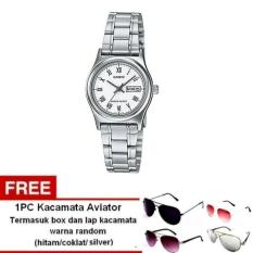 Casio Analog Watch Jam Tangan Wanita - Silver - Stainless Steel Band - LTP-V006D-7BUDF + Free 1pc Kacamata Aviator Dengan Warna Random Termasuk Kotak Kacamata Dan Lap Kacamata (Silver)