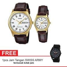 Casio Couple Watch Jam Tangan Couple - Cokelat Gold - Strap Genuine Leather Band - V006GL-7BUDF + Gratis Swiss Army Canvas Band Termasuk Kotak Jam (One Size)