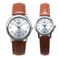 Casio Couple Watch Jam Tangan Couple - Cokelat - Strap Leather - Casual Watch + Free 1pc Kacamata Korea Style Warna Random Termasuk Kotak Dan Lap Kacamata