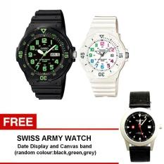 Casio Couple Watch Jam Tangan Couple - Hitam Putih - Strap Karet - Sporty Couple -MRW200H-3B + Gratis Swiss Army Watch - Warna Random