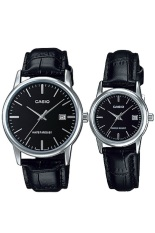 Casio Couple Watch Jam Tangan Couple - Hitam Silver - Strap Genuine Leather - V002L-1AUDF (Black)