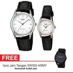 Casio Couple Watch Jam Tangan Couple - Hitam - Strap Leather - Casual Watch + Gratis Swiss Army Watch