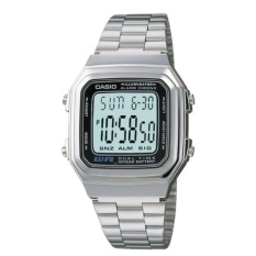 Casio Digital A178WA-1ADF Jam Tangan Unisex - Silver -Stainless