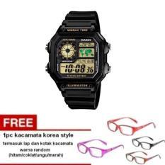 Casio Digital AE-1200WH-1BVDF - Jam Tangan Pria - Hitam - Tali Resin + Free 1pc Kacamata Korea Style - Warna Random Termasuk Kotak Dan Lap Kacamata (Black)