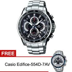 Casio Edifice Jam Tangan Pria Efr-560D-1Av FREE Casio Edifice-554D-7AV - Silver Black