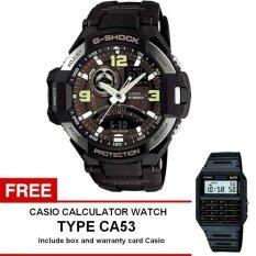 Casio G-Shock G-Aviation Gravity Defier Watch Jam Tangan Pria - Hitam - Strap Karet - GA-1000-1BDR + Gratis Casio Calculator Watch CA53 (One Size)