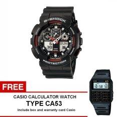 Casio G-shock GA-100-1A4 - Jam Tangan Pria - Hitam - Resin + Free Casio Calculator Watch CA53