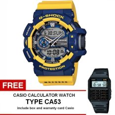 Casio G-Shock Watch Jam Tangan Pria - Kuning - Strap Karet - GA-400-9BDR + Gratis Casio Calculator Watch CA53