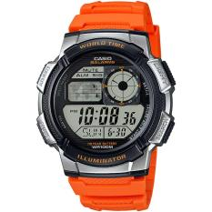 CASIO Illuminator AE-1000W-4BVDF - Jam Tangan Pria - Tali Karet - Digital Movement - Orange