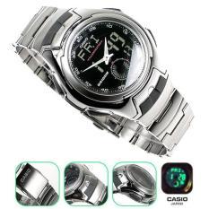 Casio Jam Tangan Unisex Original - Stainless Steel - AQ160W1B Hitam Silver