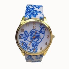 Casual Quartz Watch Women Dress Wristwatches Female Casual Plastic Flower Print Quartz Watch Women Relogio Feminino Blue Flowers (Intl)