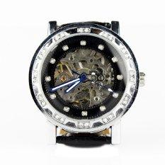 Casual Unisex Automatic Mechanical Wrist Watch Skeleton Pu Casual Black (Intl)