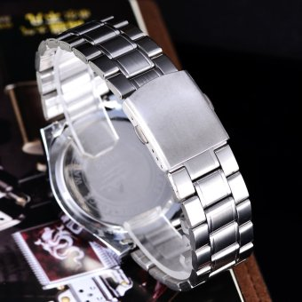 Cenozo Jam Tangan Pria - Body Silver - Black- Dial - Stainless Stell Band -