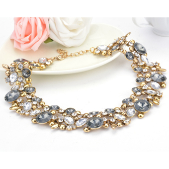 Chain Rhinestone Crystal & Flower Beads Necklace Fashion (Multicolor) - Intl