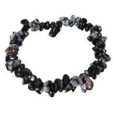 Charm Gemstone Bead Crystal Millefiori Glass Quartz Chip Stretch Bangle Bracelet Snowflake Obsidian - INTL