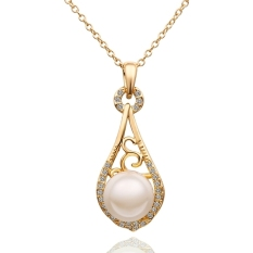 Charming Elegant Drop Pearl Pendant Rhinestone Crystal Man-Made Pearl Gift Party Chain Jewelry Necklace (Gold Color)