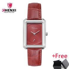 CHENXI New Female Leather Strap Square Independent Seconds Hand Simple Dial Watch Jam Tangan es Lady Watch Jam Tangan Women Student Quartz WristWatch Jam Tangan 090A