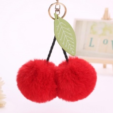 Cherry Faux Pom pom Ball Keychain Key Ring Bag Charm Girls Women Accessories Red 25cm - intl