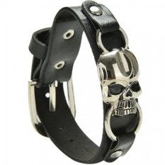 Chic Fashion Leather Bracelet Mens Cuff Skull Bracelet Bangles Wristband Jewelry Black