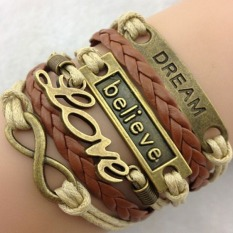 Chic Fashion Leather Weave Infinity Charm Bracelet Silver Lots Style Pick