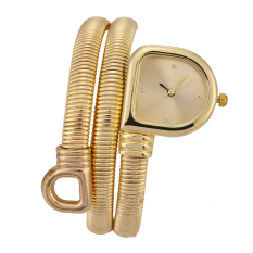 Chic Snake Shaped Bangle Watch Bracelet Wrist Watch for Lady Women - Square Head/Gold Shell/Gold Dial - intl