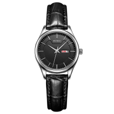 CITOLE BUREI Auto Date Women Watch Genuine Leather Strap Quartz Casual Wristwatch 30M Waterproof Fashion Lady Dress Watches Reloj Mujer (Black Black Leather)