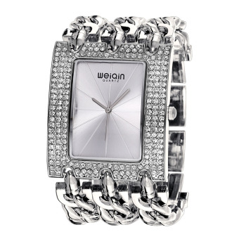 CITOLE Wei Qin Female Table Full Of Diamond Square Dial Watch Fashion Chain