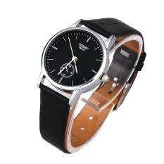 Classic Mans Quartz Electronic Analog Leather Strip Wrist Watch Black