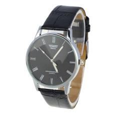 Classic Mens Roman Number Quartz Electronic Leather Wrist Watch Black