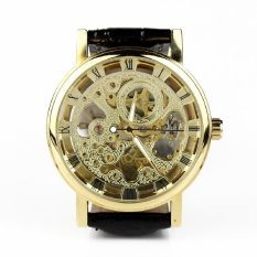 Classic Skeleton Automatic Mechanical Men'S Watch Leather Strap Luxury Retro Black Leather Strap&Golden Dial (Intl)