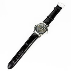 Classic Skeleton Automatic Mechanical Men'S Watch Leather Strap Luxury Retro Black Leather Strap&Silver Dial (Intl)