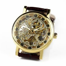 Classic Skeleton Automatic Mechanical Men'S Watch Leather Strap Luxury Retro Brown Leather Strap&Golden Dial (Intl)